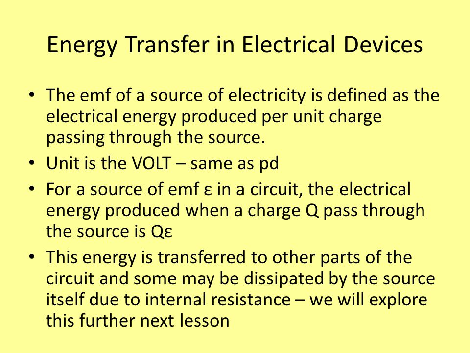 Energy Transfer in Electrical Devices