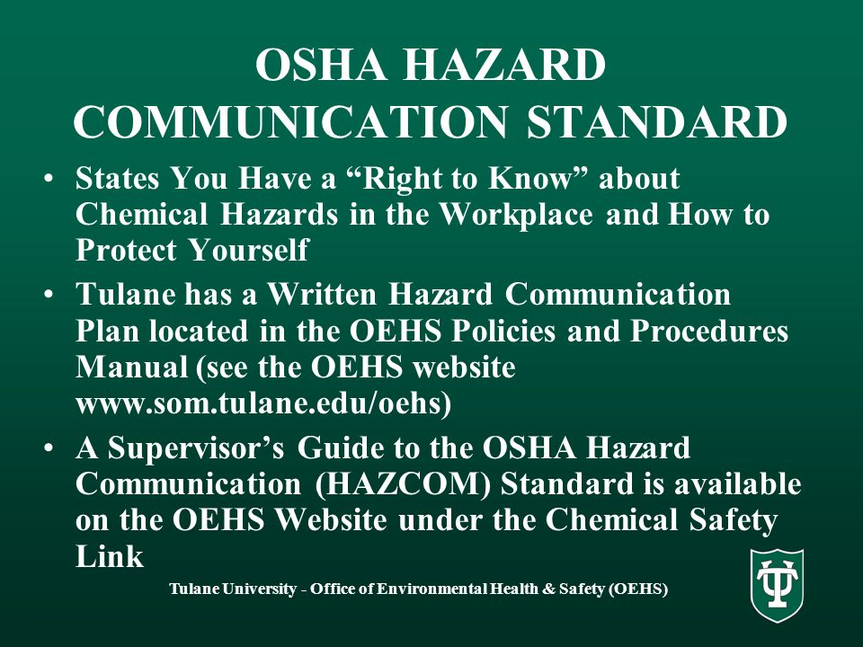 OSHA HAZARD COMMUNICATION (HAZCOM) STANDARD 29 CFR - ppt download