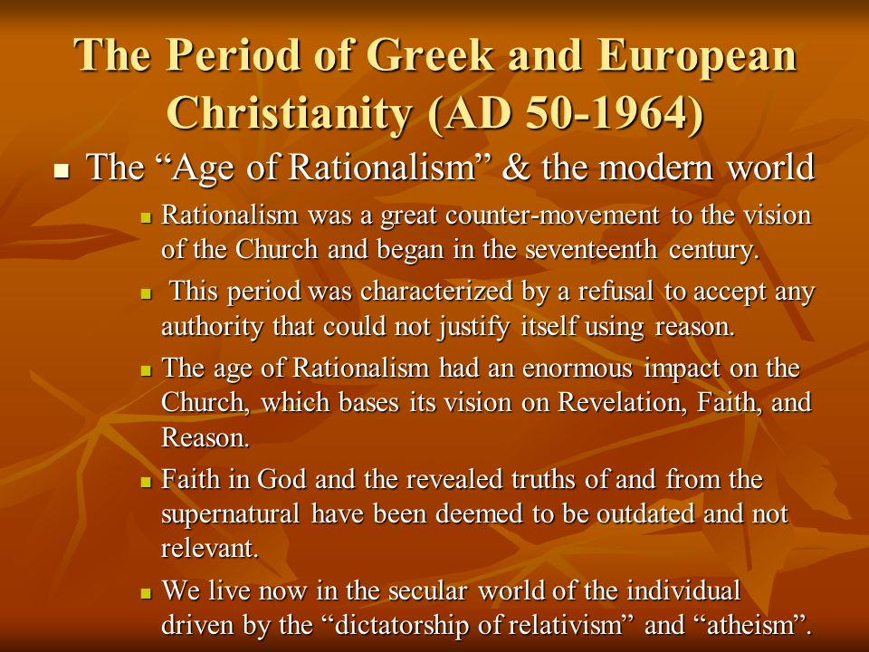 what was the age of reason of revival and what was the impact on church history At one level, of course, the interpretation of roman catholicism is closely related to the interpretation of christianity as such the revival of imperial power in germany would have lasting influence on the development of the church, as would the foundation of the reformed monastery of cluny in burgundy.
