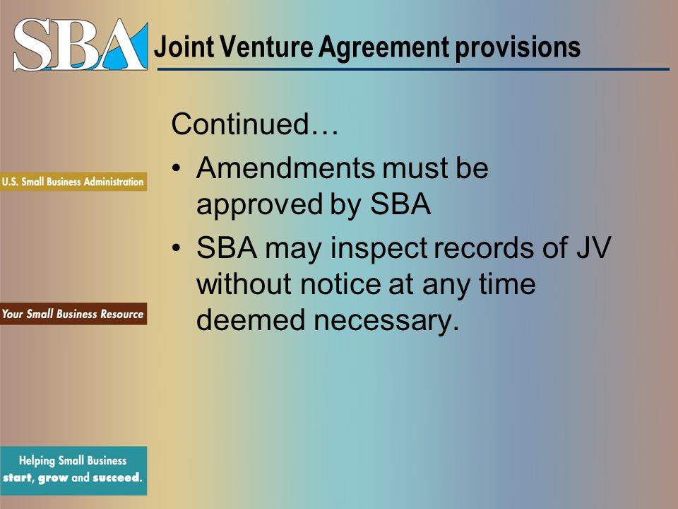 Joint Venture Agreement provisions