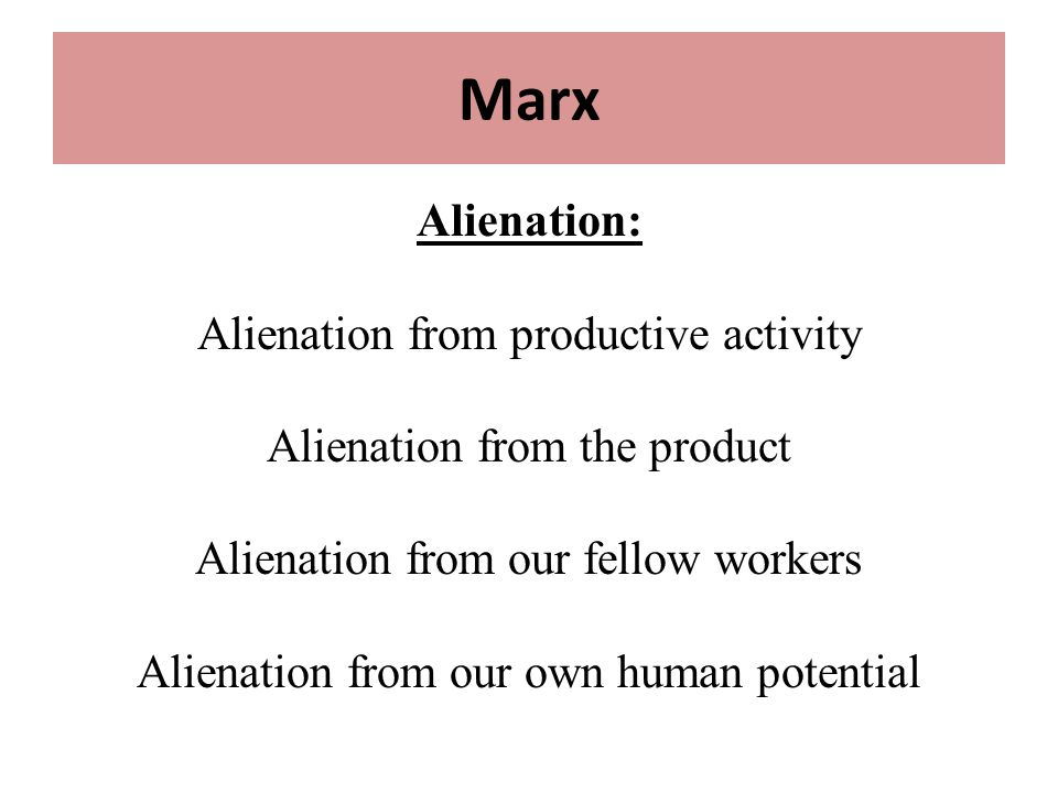 marx's concept of alienation and gilman's Outline of sociology topic the following outline is provided as an overview of and topical guide to the discipline of sociology : sociology – study of society using various methods of empirical investigation and critical analysis to understand human social activity , from the micro level of individual agency and interaction to the macro level.