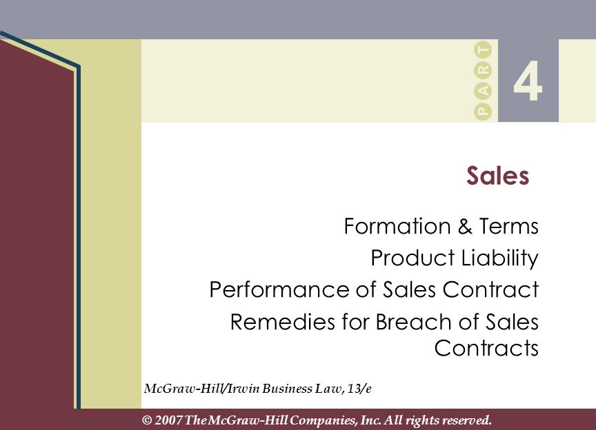 4 Sales Formation & Terms Product Liability - Ppt Download