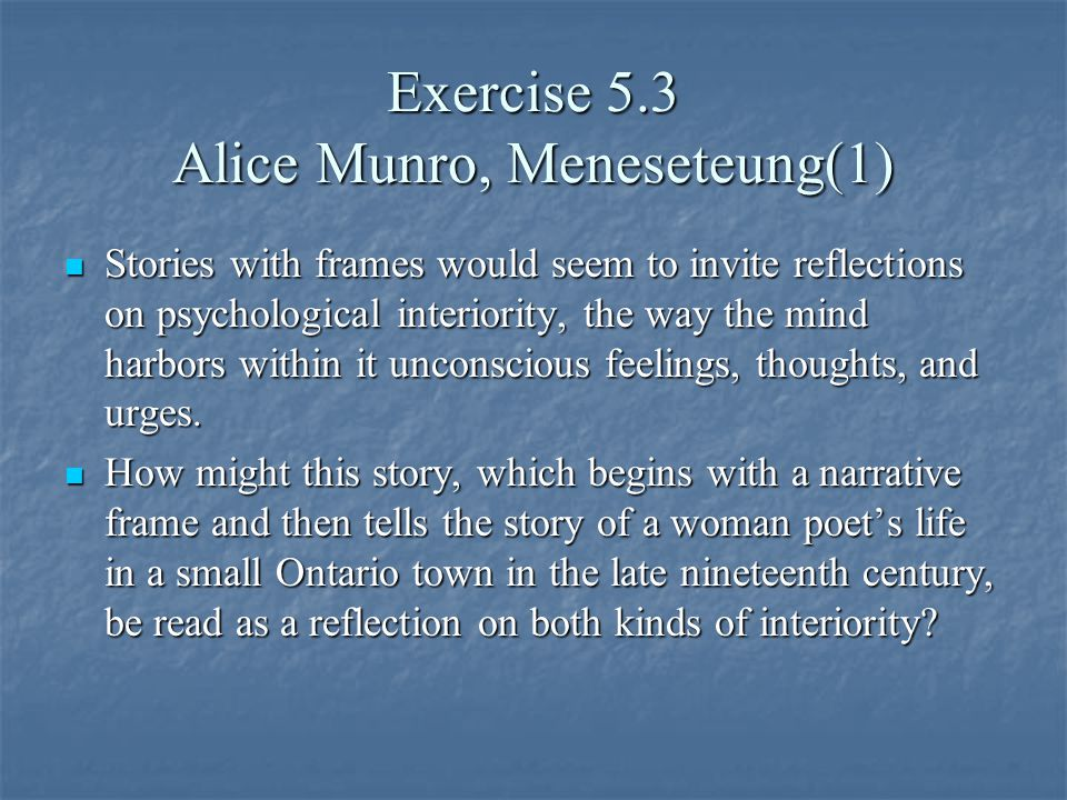 """meneseteung by alice munro glorification of Coming-of-age of almeda in alice munro's """"meneseteung""""  the matter (1948),  greene seems to glorify the central male and give subtle hints of female."""