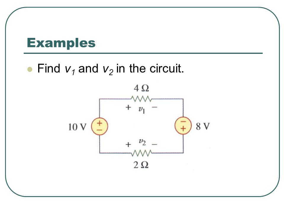 Examples Find v1 and v2 in the circuit.