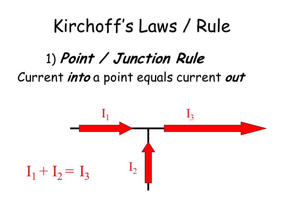 Kirchoff's Laws / Rule I1 + I2 = I3 1) Point / Junction Rule