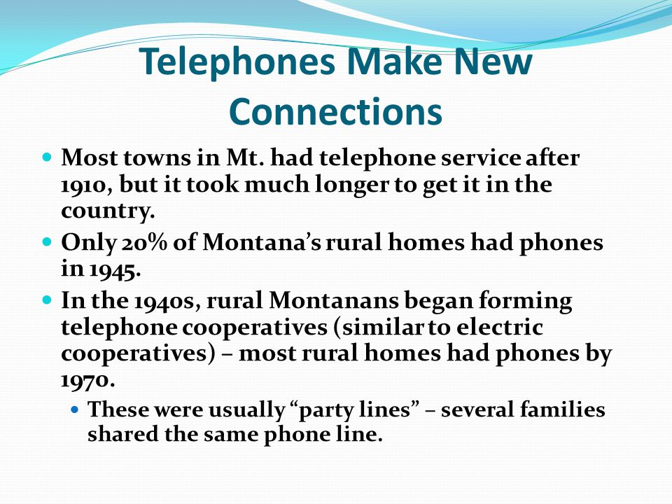 Telephones Make New Connections