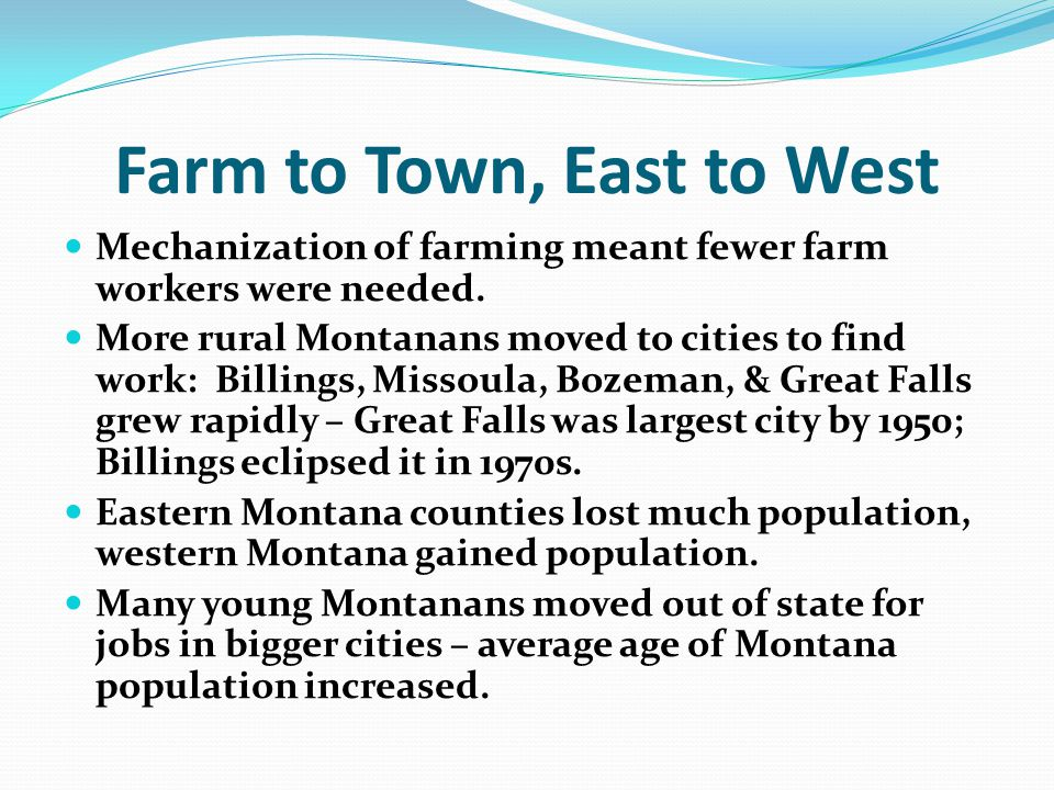 Farm to Town, East to West