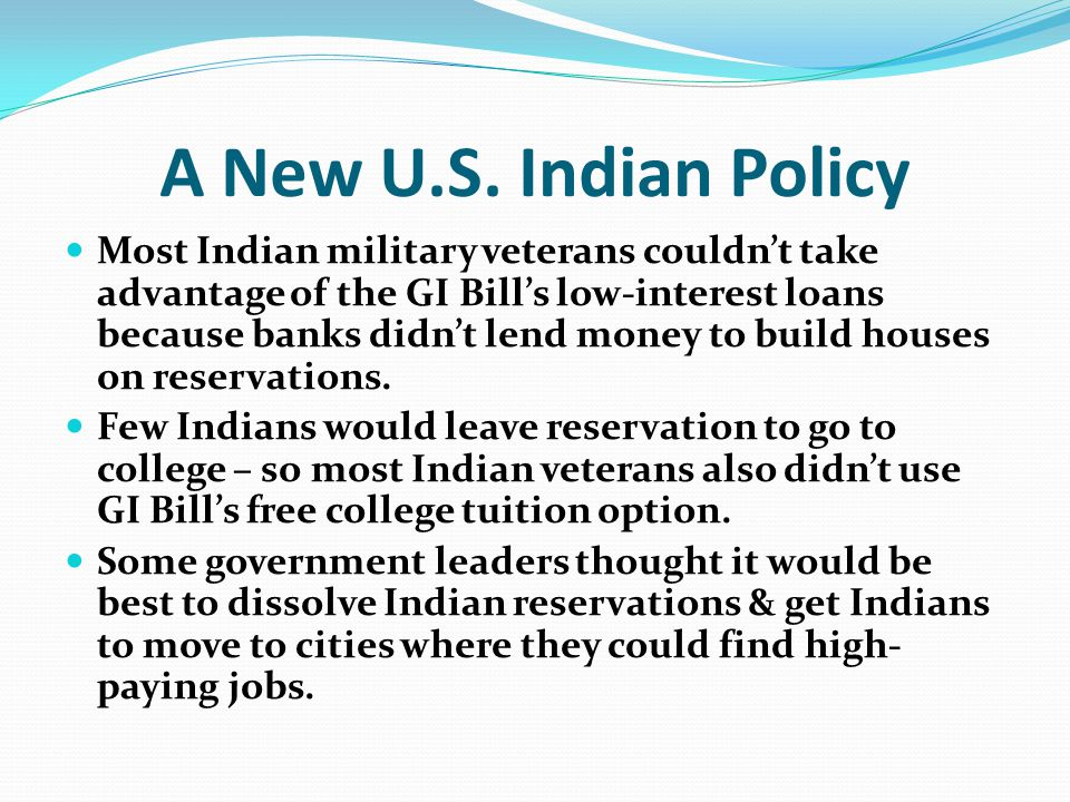 A New U.S. Indian Policy