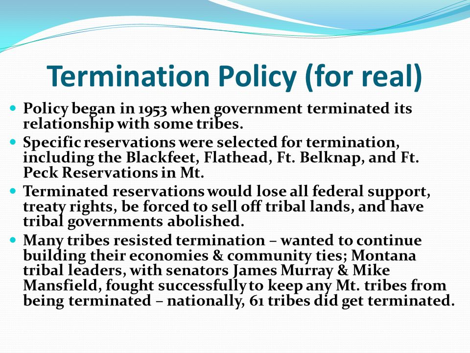 Termination Policy (for real)