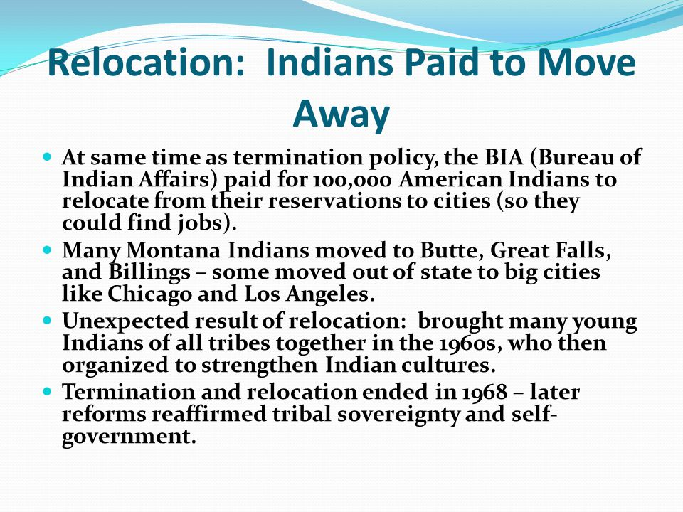 Relocation: Indians Paid to Move Away