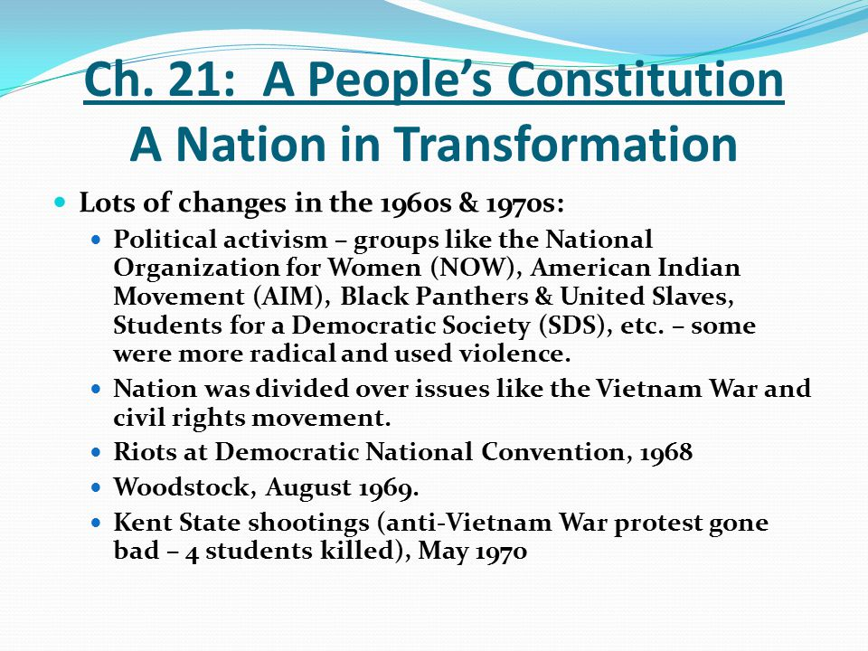 Ch. 21: A People's Constitution A Nation in Transformation