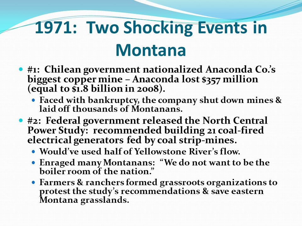 1971: Two Shocking Events in Montana