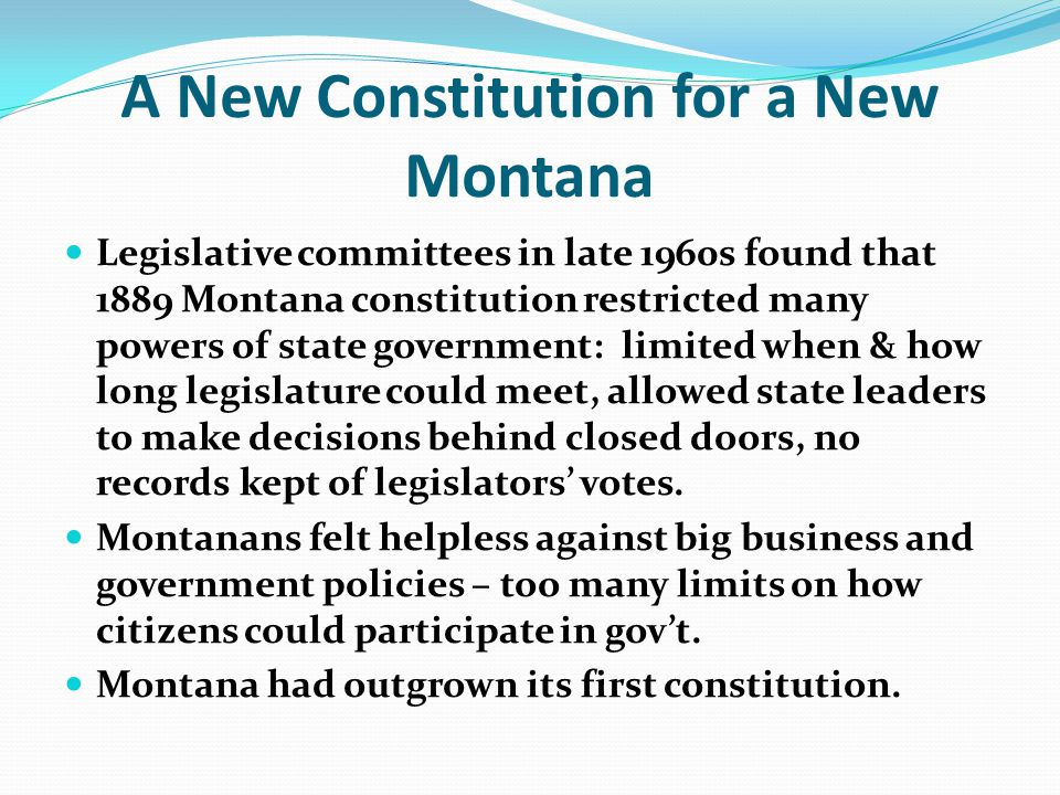 A New Constitution for a New Montana