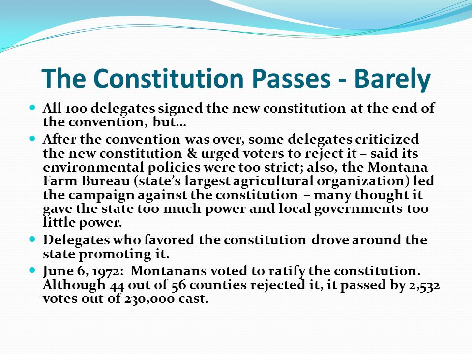 The Constitution Passes - Barely