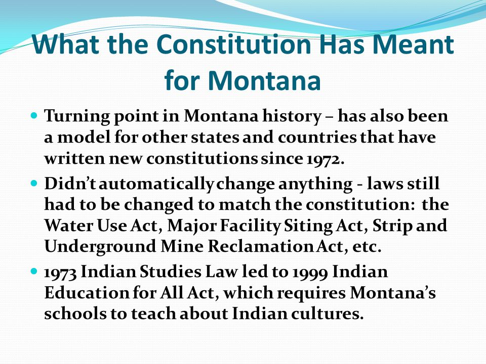 What the Constitution Has Meant for Montana