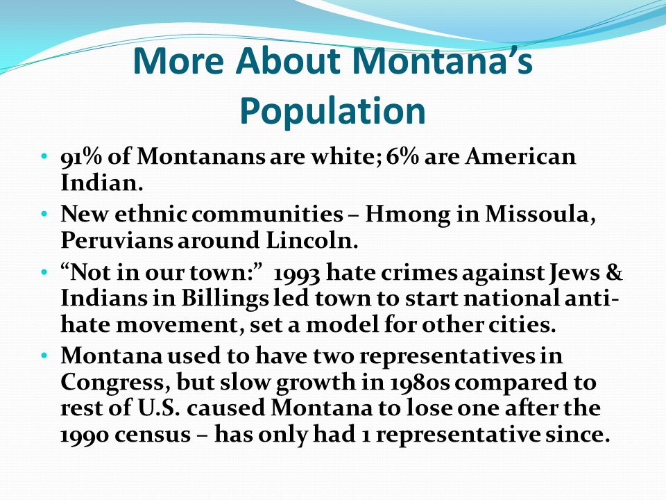 More About Montana's Population