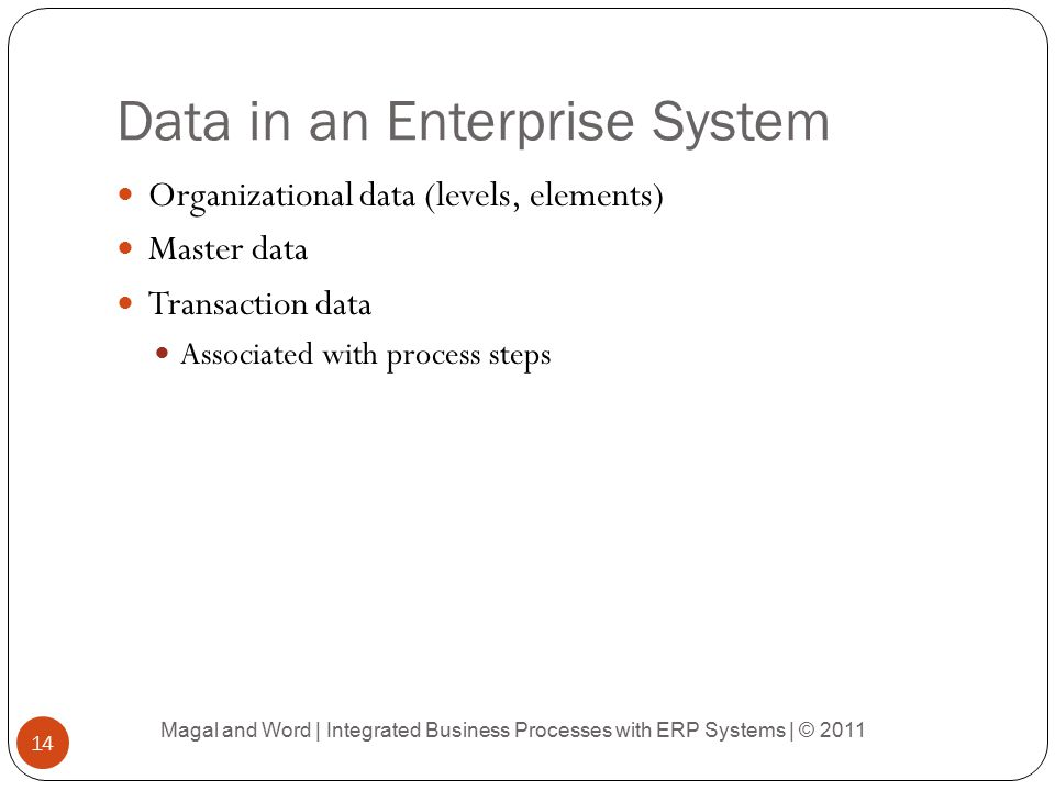 Data in an Enterprise System