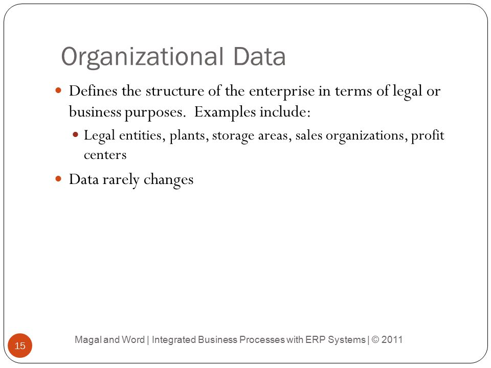 Organizational Data Defines the structure of the enterprise in terms of legal or business purposes. Examples include: