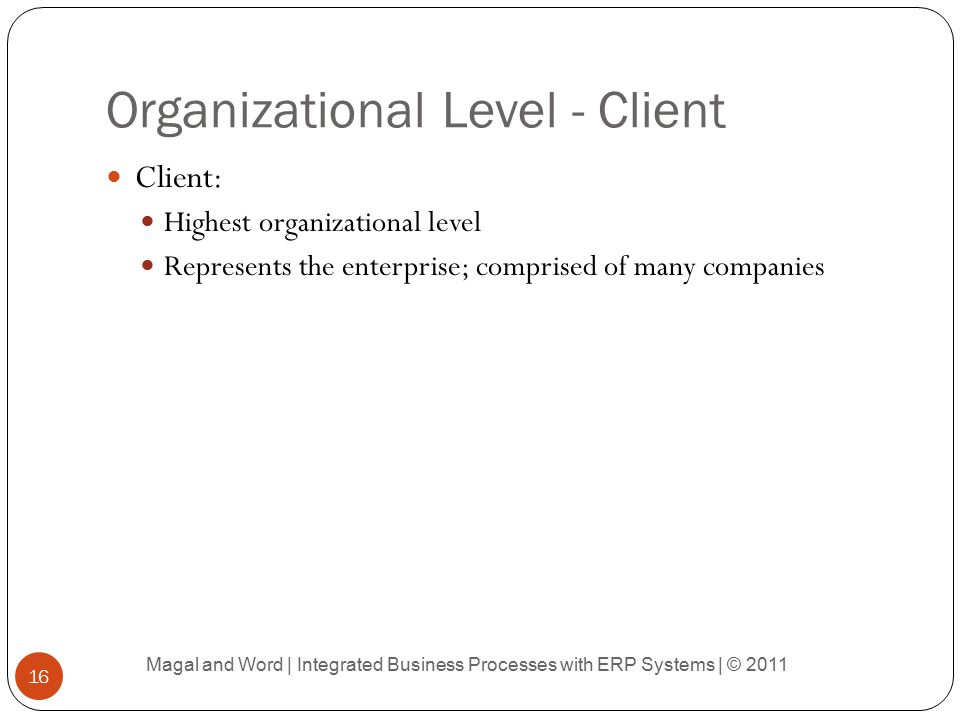 Organizational Level - Client