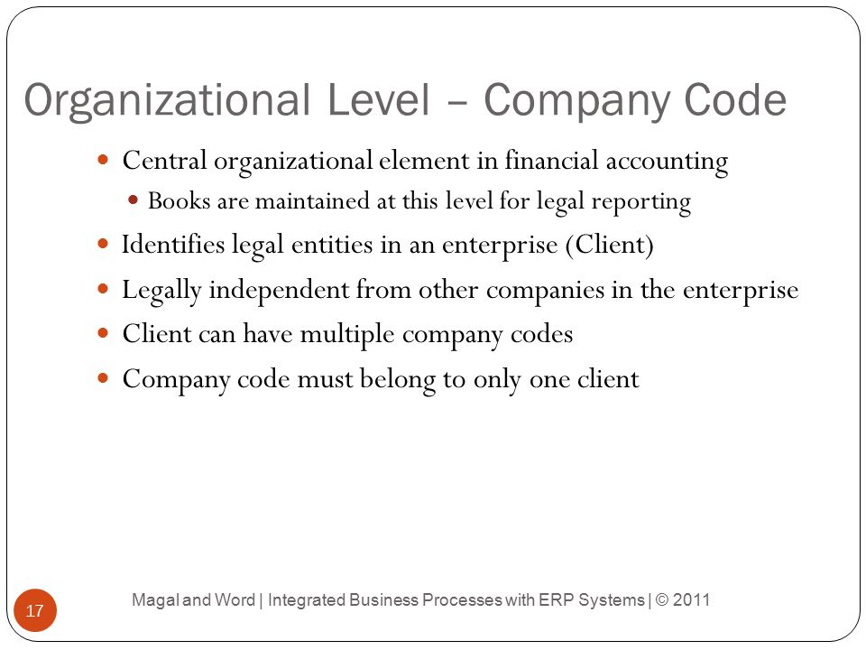 Organizational Level – Company Code