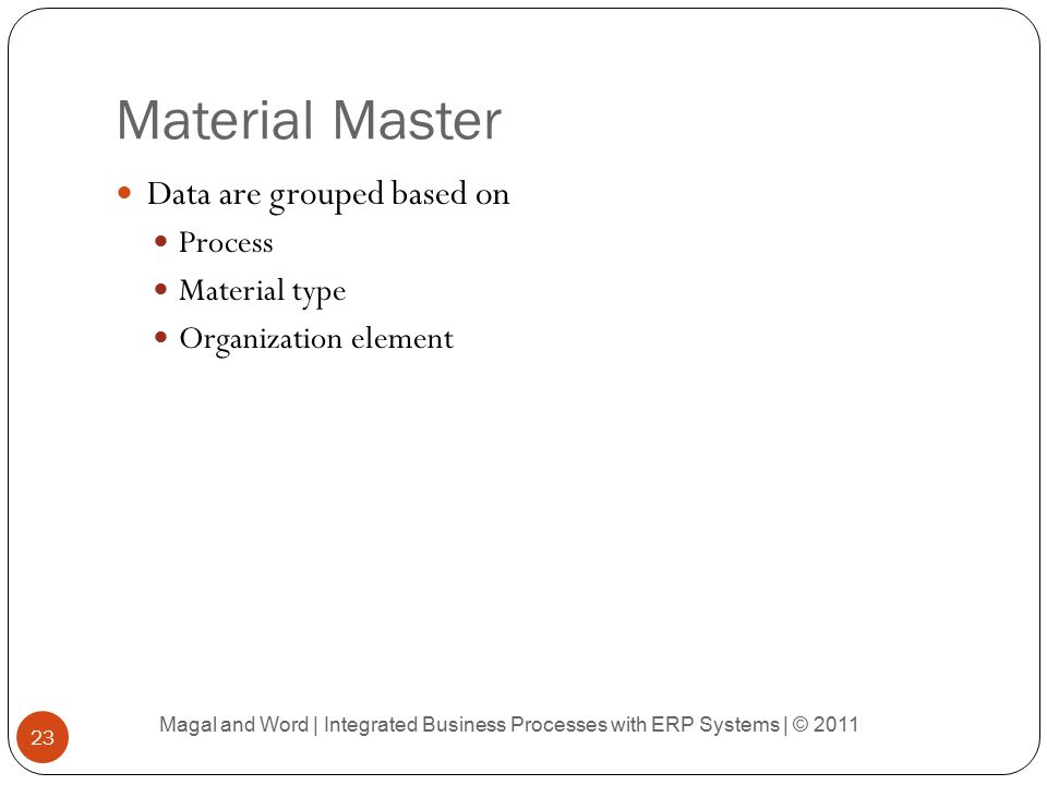 Material Master Data are grouped based on Process Material type