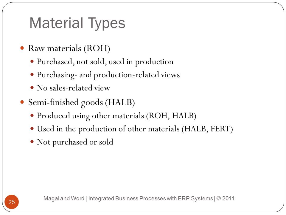 Material Types Raw materials (ROH) Semi-finished goods (HALB)