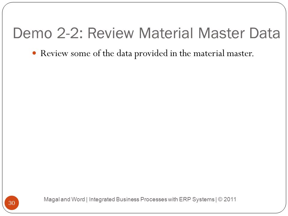 Demo 2-2: Review Material Master Data