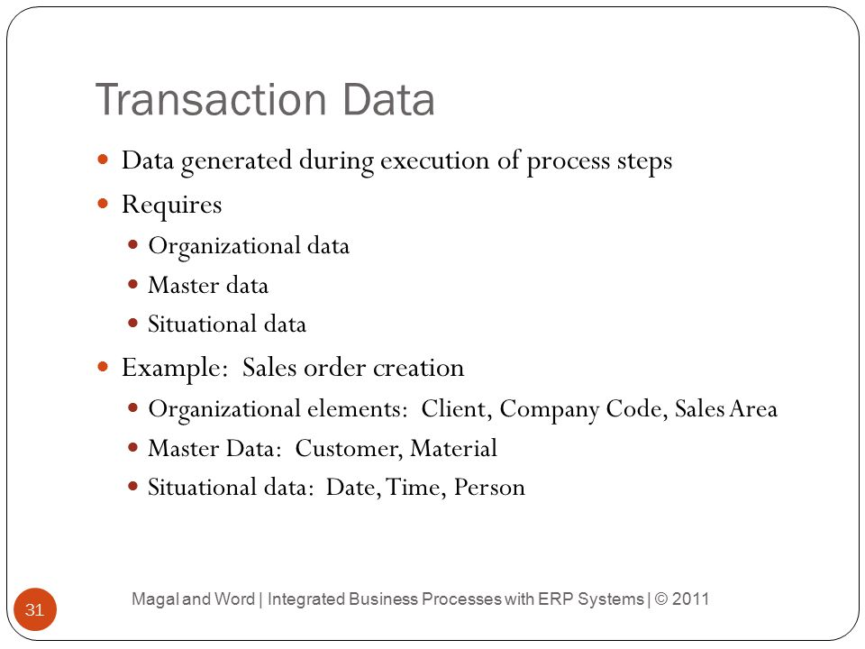 Transaction Data Data generated during execution of process steps