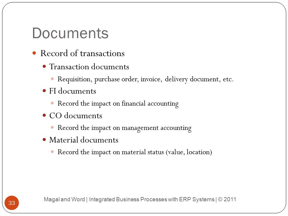 Documents Record of transactions Transaction documents FI documents