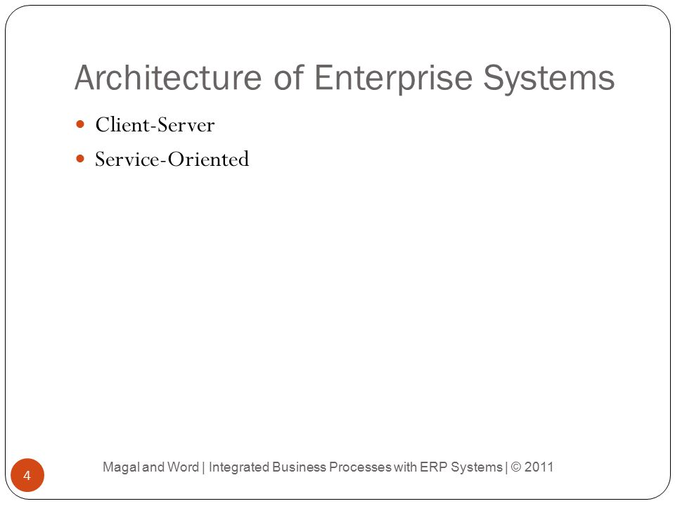 Architecture of Enterprise Systems