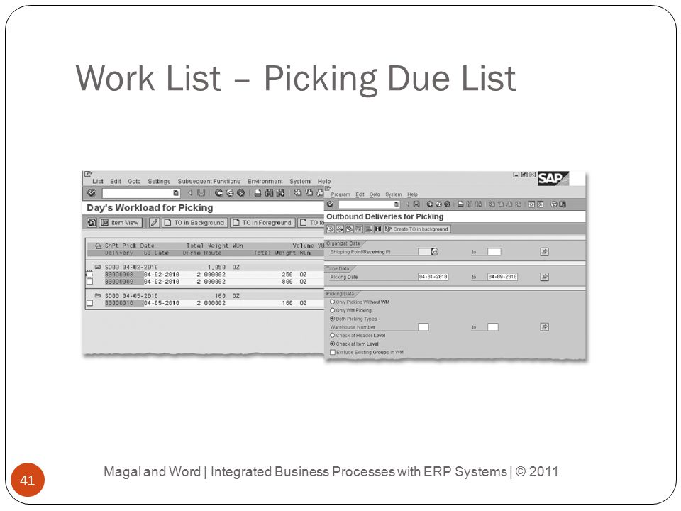 Work List – Picking Due List