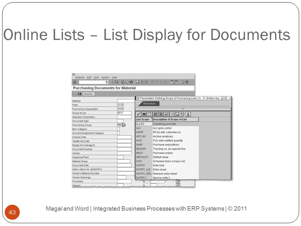 Online Lists – List Display for Documents