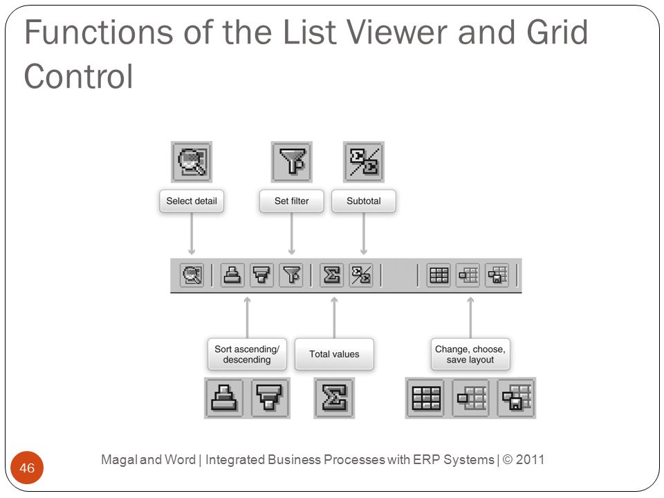 Functions of the List Viewer and Grid Control