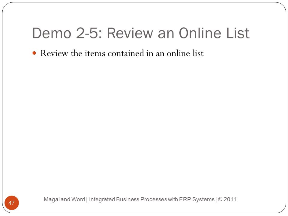 Demo 2-5: Review an Online List