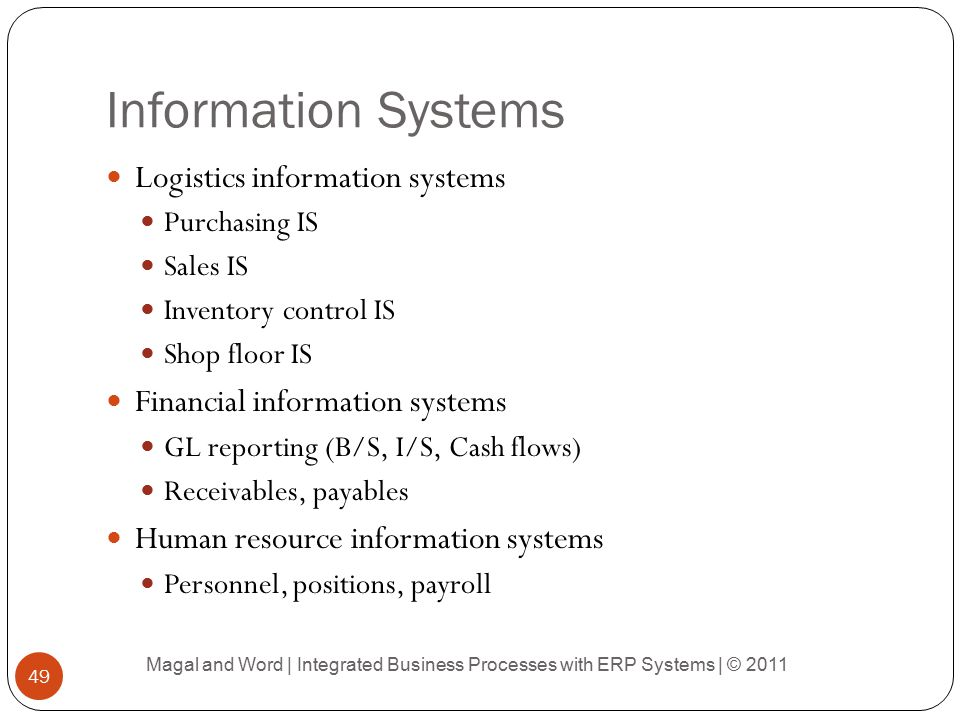 Information Systems Logistics information systems