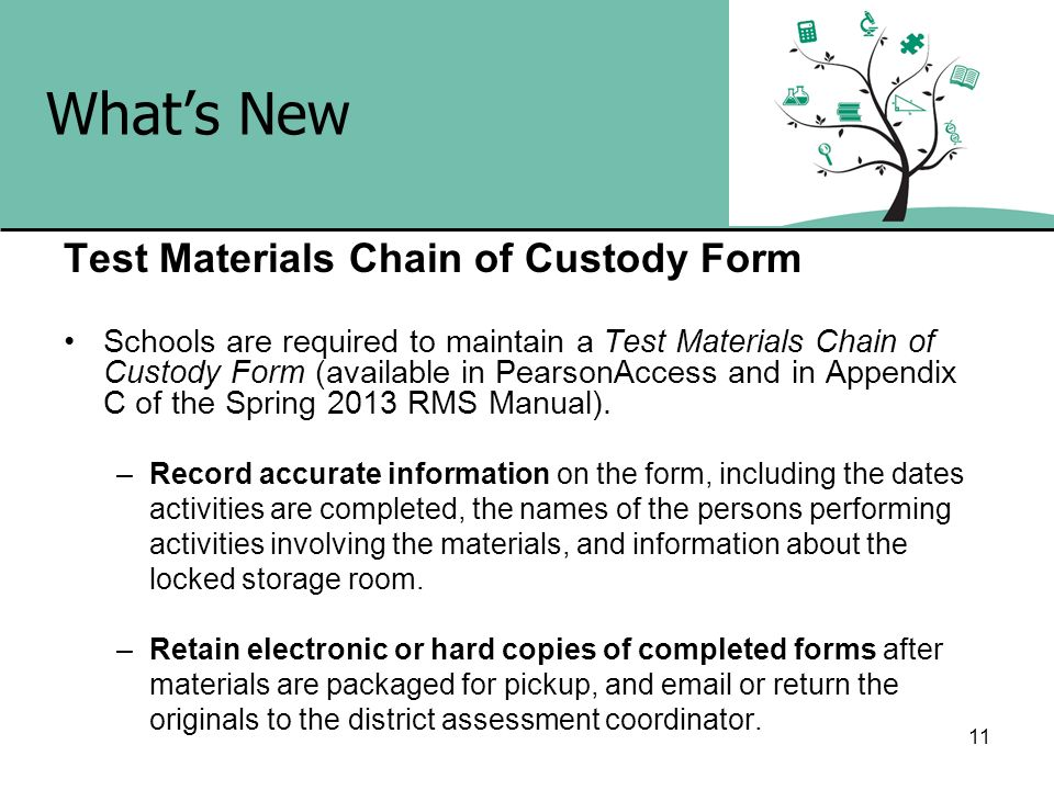 What's New Test Materials Chain of Custody Form