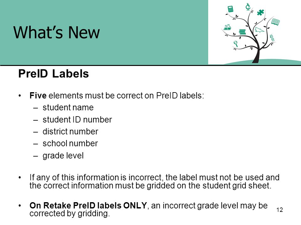 What's New PreID Labels Five elements must be correct on PreID labels: