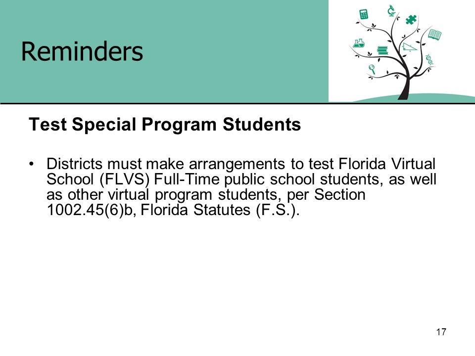 Reminders Test Special Program Students