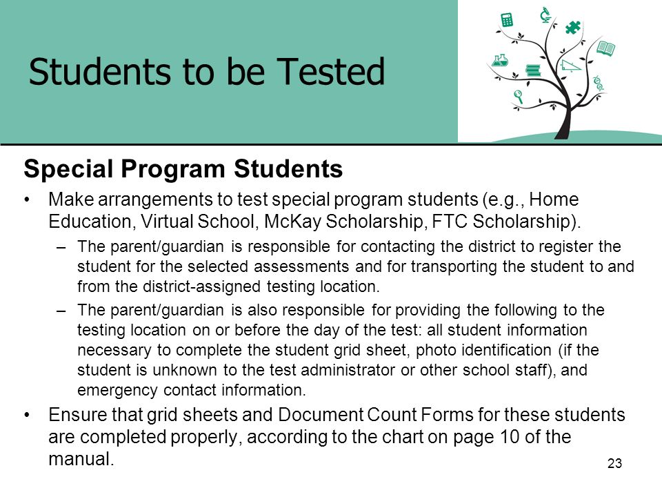 Students to be Tested Special Program Students