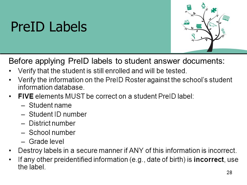 PreID Labels Before applying PreID labels to student answer documents:
