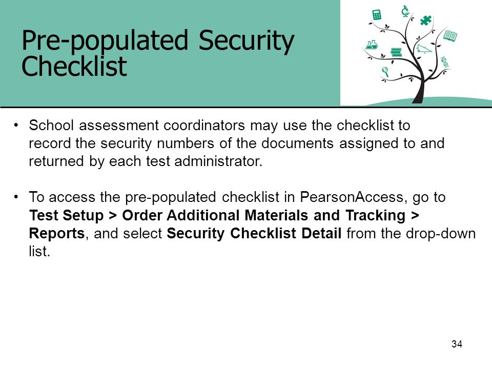 Pre-populated Security Checklist