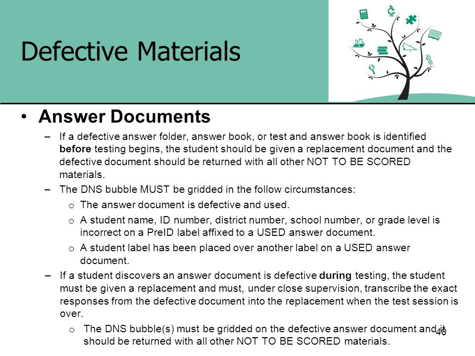Defective Materials Answer Documents