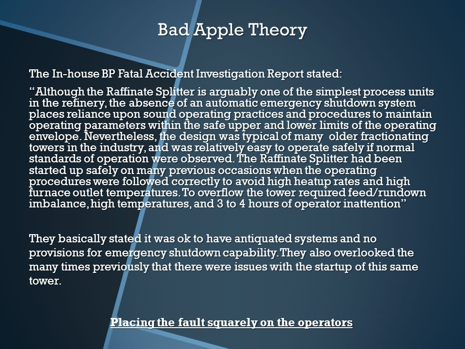 """the rotten apple theory in society Individual or """"rotten apple"""" theory based strategies 74 cultural   corruption and its cost and effects on society and police services the research."""