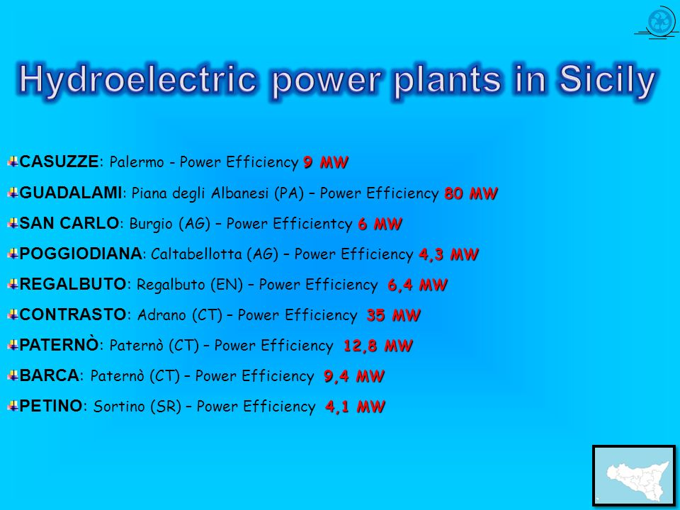 Hydroelectric power plants in Sicily