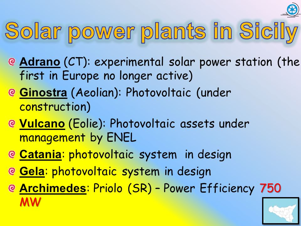 Solar power plants in Sicily