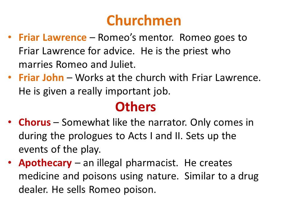 the contribution of friar lawrence in the play romeo and juliet The role of friar laurence in romeo and juliet throughout history never has there been a piece of literature as well known for its tragic end as that of shakespeare's romeo and juliet although many factors contribute to the grief and misfortune that this play represents, human actions play the principle role in the final outcome.