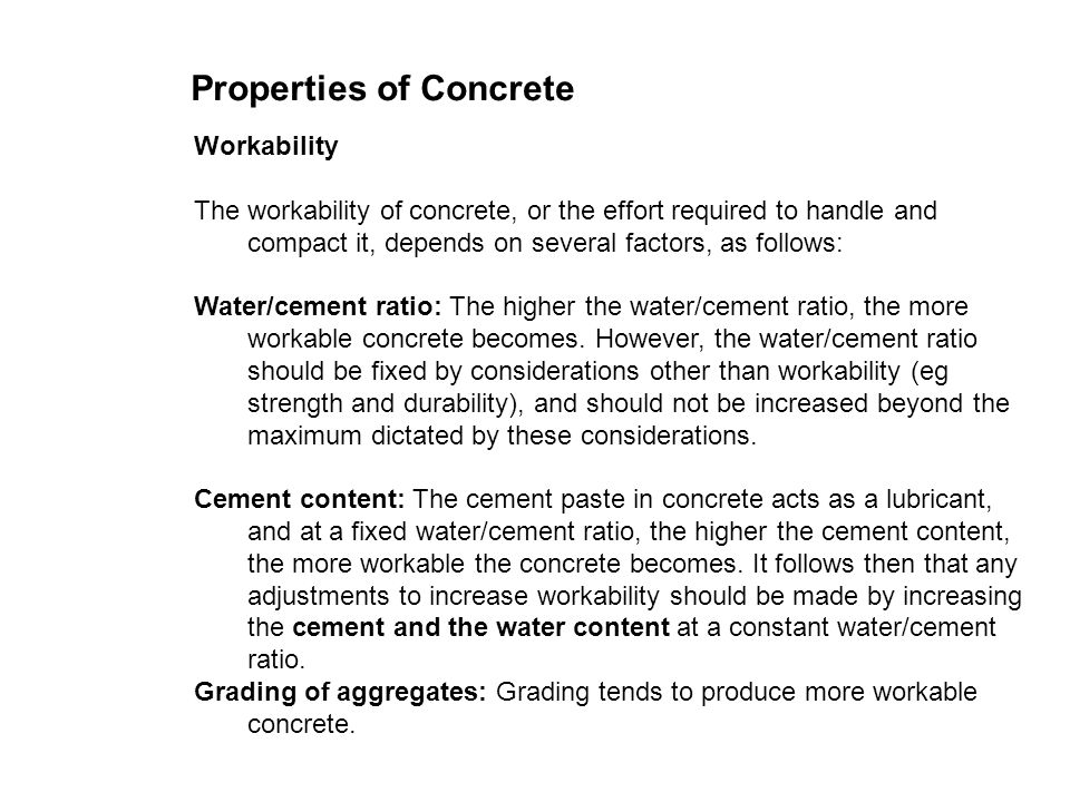 Properties Of Concrete : Range of building materials properties concrete ppt