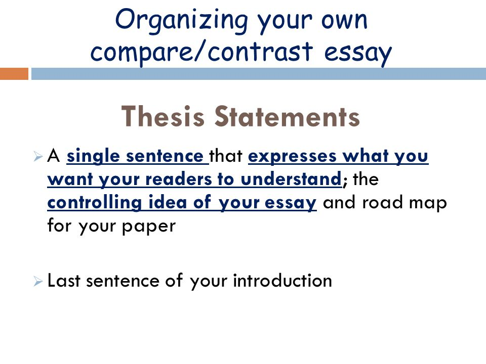 thesis statement help compare/contrast