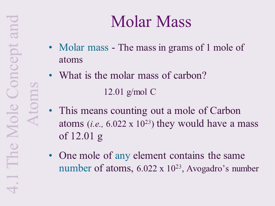 how to find out the molar mass of an element
