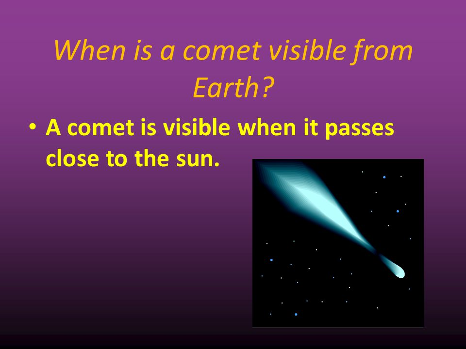 When is a comet visible from Earth